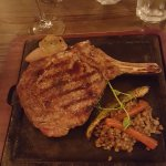 The cowboy steak--bone-in ribeye. Also more than enough for two of us, tender and wonderful flav