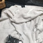 shredded and stained towel