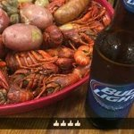 Amazing crawfish with the fixings and cold beer! Doesn't get any better than this