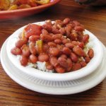 Red beans and rice.  I tried to get the steam pouring out of it, but it didn't show up.