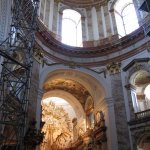 scaffolding, altar and ceiling