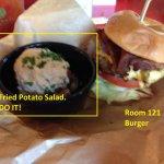 Room 121 Burger with Fried Potato Salad.