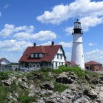 Portland Head Light, Cape Elizabeth, Maine. Open from sunrise to sunset. Free parking. Gift shop
