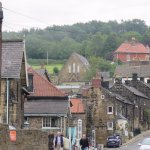 Main street in Grosmont up hill from the train tracks.