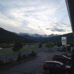 View from room balcony looking at the continental divide on the horizon
