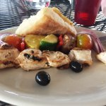 Chicken and veggie kabobs, ciabatta bread