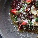Our venison carpaccio with smoked shallots, parmesan and house pickle this dish is a favourite.