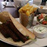 Sirloin steak baguette and lamb kebab