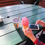 ice-cream and blackcurrant