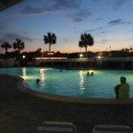 Larger pool at night