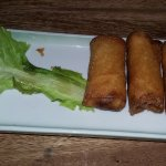spring rolls... the skin is a little thick for me. eat it with the thai sweet chilli sauce..