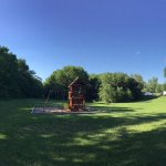 Nice playset with great open area to run around in and not bother others.