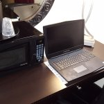 The desk was VERY small. My laptop barely fit with the lamp and microwave. Not ideal for work.