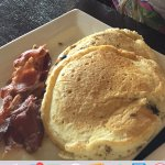 Kids Meal Choc Chip Pancakes and bacon for breakfast - included in stay