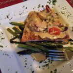 The salmon, flavorful, with fresh asparagus