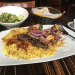 Everything delicious for lunch!! Tabbouleh, mixed grill with Kafta, And lamb and chicken kabob!!