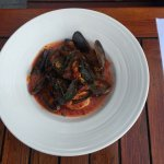 Mussels and gamborini to start and steak and seafood pasta for mains