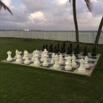 giant chess game next door on the walkway