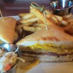 Triple Decker Fried Bologna w/cheese, caramelized onions and mustard. To die for.