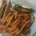 The perfect BLT with cheddar and fries
