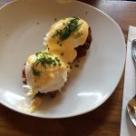 Eggs Benedict with seafood cake