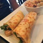 Buffalo chicken wrap- the mango sauce was GREAT, we highly recommend it.