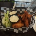 The buffalo wings are awesome!  And the blue cheese is thick and tasty!