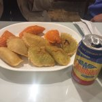 Empanadas and arepes are available as appetizers here