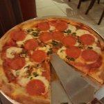 Mmm. Margarita Pizza with pepperoni and mushrooms.  Mmmmmm great