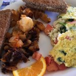 Greek Omelette with hash browns & wheat toast