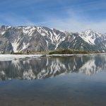 八方池に映る白馬三山