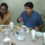 Dr. Manish Dev and wife, attorney Manisha Dev from Jaipur India having lunch.