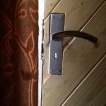 this is inside of room, lock can only be done with key from inside and it has a hole to peep in