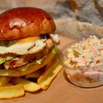 chickenburger with coleslaw