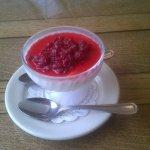 Russian Cream with Raspberries dessert.