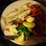 Broiled lake fish and sweet potato fries