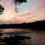 Always beautiful sunsets. One of the private boat docks in the foreground.