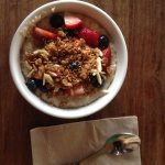 oatmeal with berries, granola and almonds :)