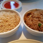 Brown rice on the left and veggie fried rice on the right!