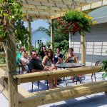 Enjoy wine on our outdoor patio