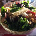 Deliciously amazing mix salad with chicken, eggplants and hot peppers!!!
