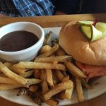 Crown and Anchor, Qualicum Beach, menu cover, dry ribs, salmon burger, beer and. Chardonnay