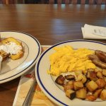 French toast, home fries, eggs, sausage