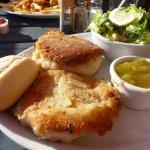 Fish cakes and Caesar salad