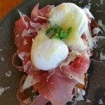 Signatiure eggs - poached eggs, prosciutto and truffle pecorino
