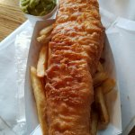 Huge Fish and Chips and Side of Mushy peas