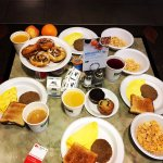 Breakfast; eggs, turkey cutlet, cereals, coffee, juice, pies....e.t.c