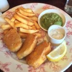 Vegetarian fish and chips, yummy.
