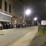 The line goes all the way down the street, and around the building. Allow several hours for that