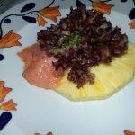 repas du soir: saumon ananas